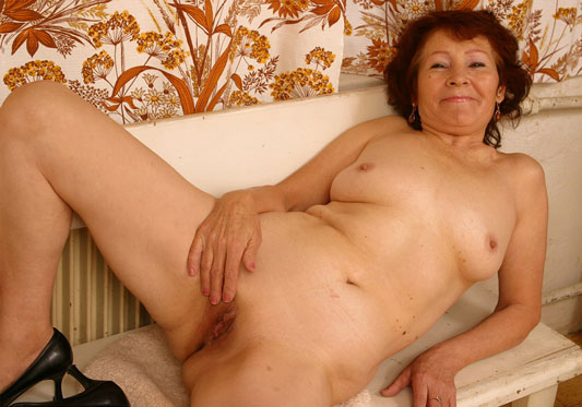 image Hairy granny has a wet spot in her panties