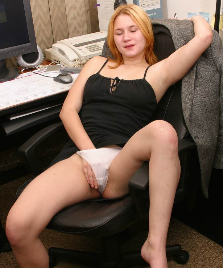 Office girl plays with her pussy under her white knickers. She's by the phone!