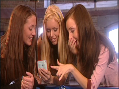 three girls with an iphone